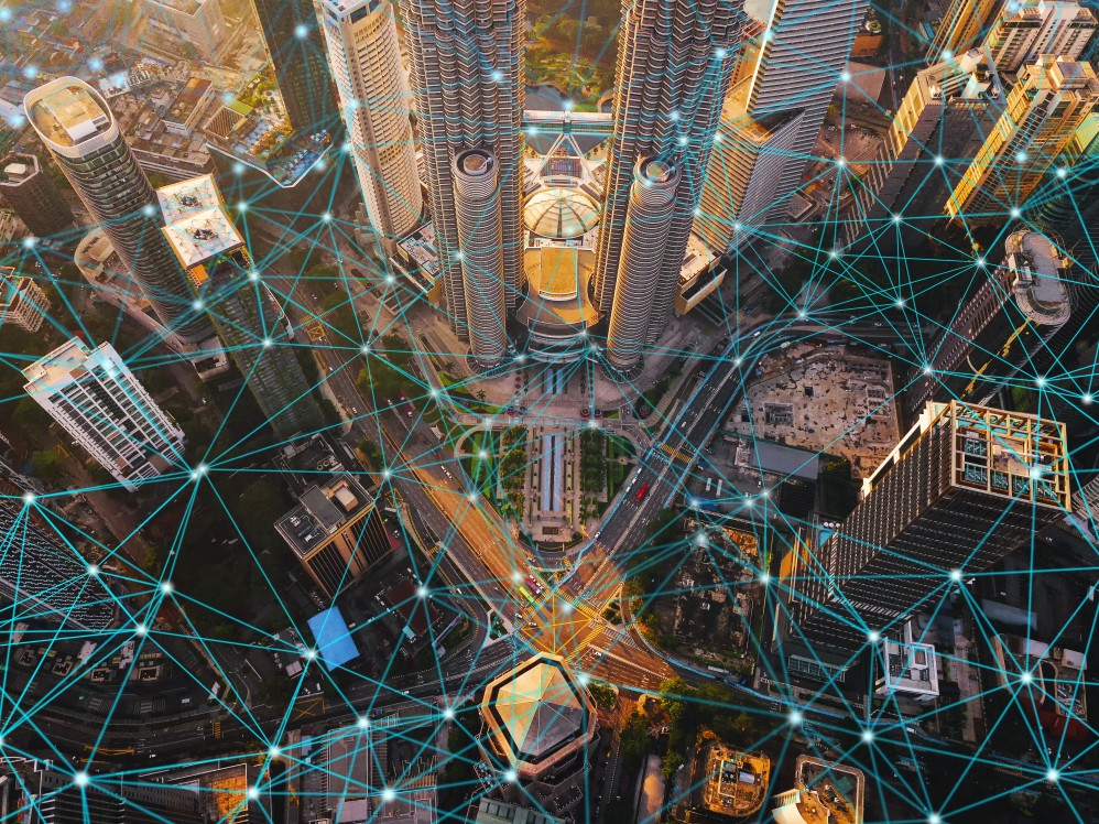 ai AI in Smart Cities digital network connection lines of kuala lumpur downtown malaysia financial district and business t20 E4Erw7